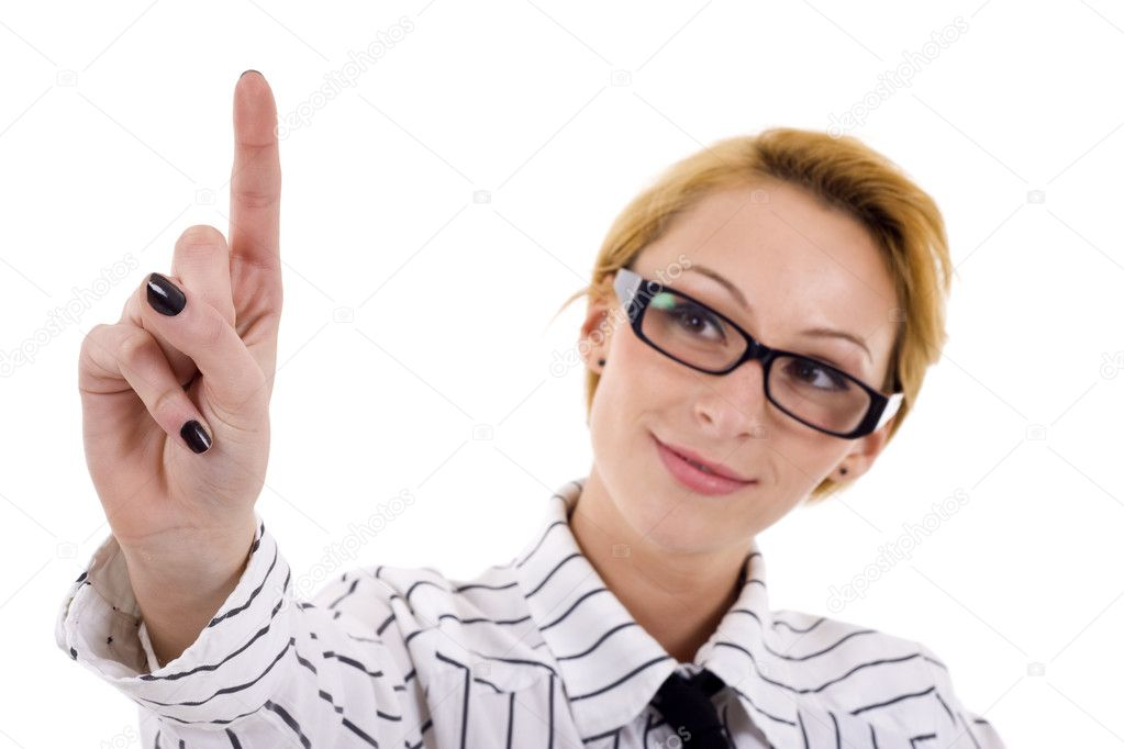 A young beautiful businesswoman making choice over white — Stock Photo #3080080