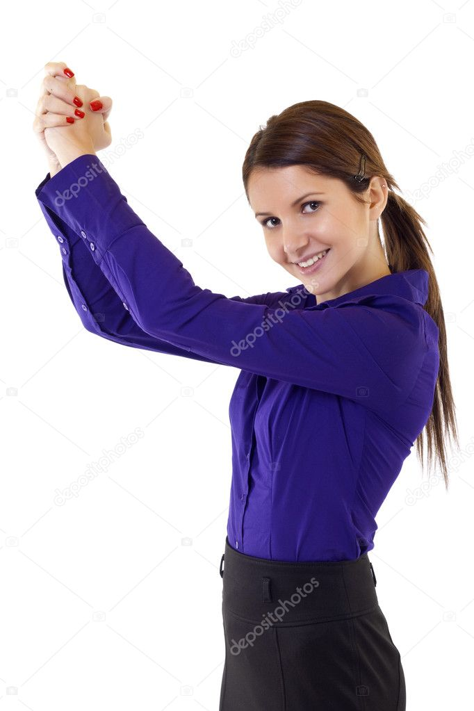 Pretty joyous business woman celebrating success over white background — Stock Photo #3134120