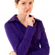 Woman with the finger near lips — Stock Photo