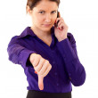Woman with thumb down — Stock Photo #3363948