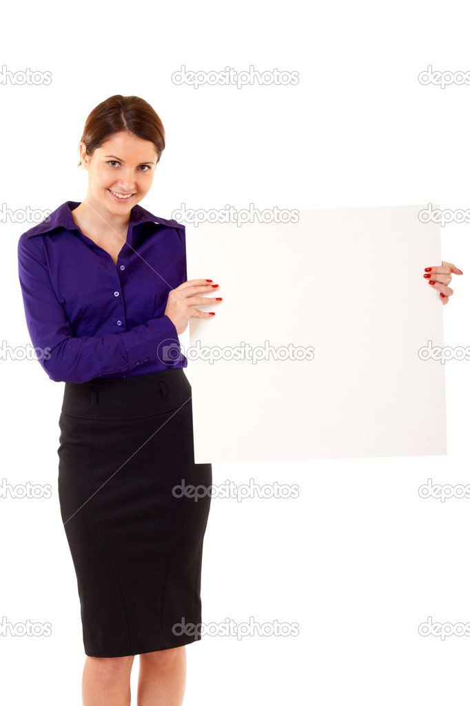 Young business woman holding blank sign isolated on white  — Stock Photo #3363973