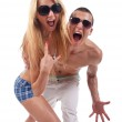 Party couple screaming — Stock Photo #3502205