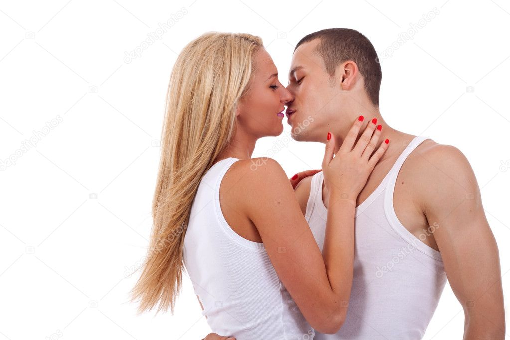 Sexy young couple before kiss isolated on white  — Lizenzfreies Foto #3502225