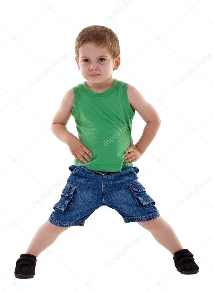 Preschool boy posing for kids fashion show over white — Stock Photo #3502332