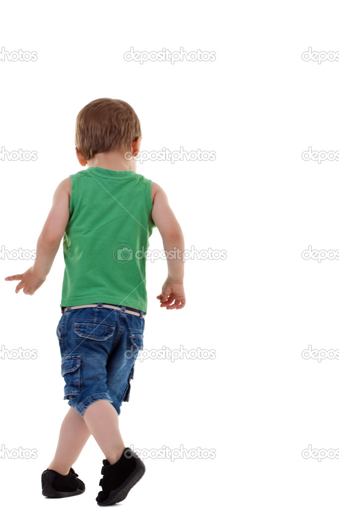 Picture of a small boy walking on a white background — Stock Photo #3502334