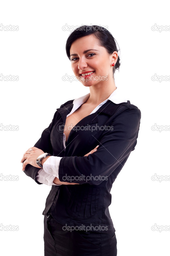 Positive business woman smiling over white background  — Stock Photo #3595388