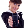 Business woman holding phone — Stock Photo