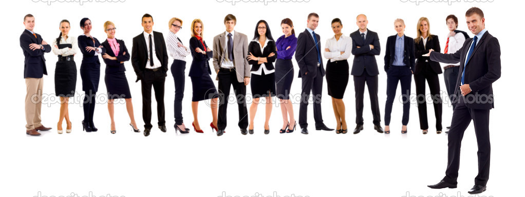Business leader presenting his successful business team — Stock Photo #3656732