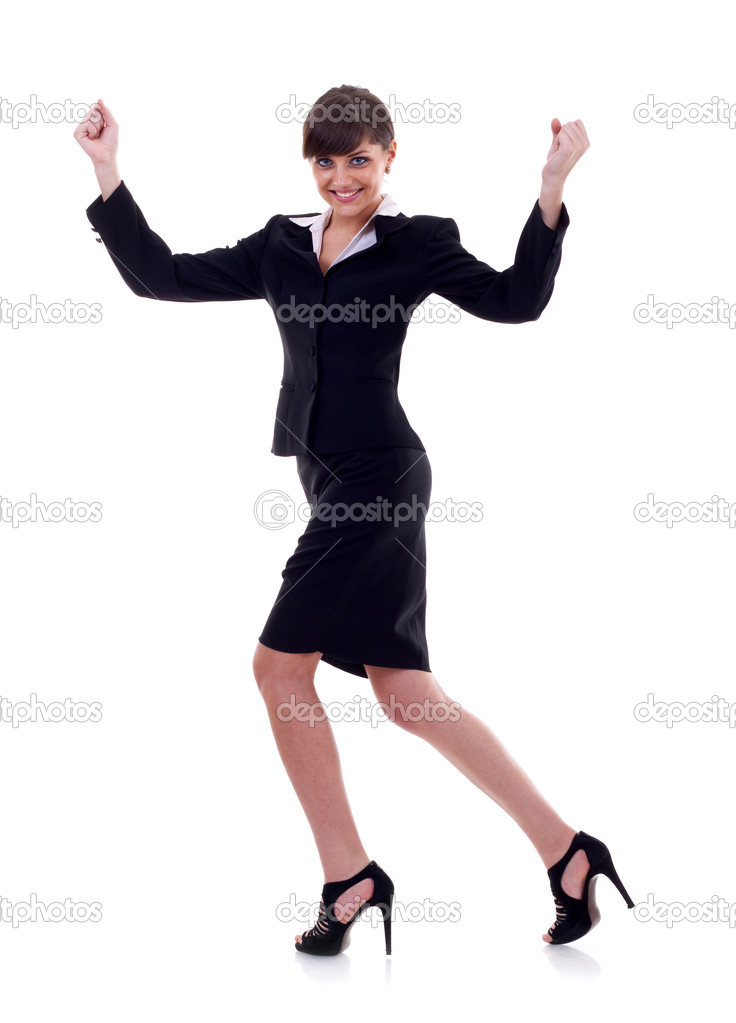 Pretty joyous business woman celebrating success over white background   Photo #3656799