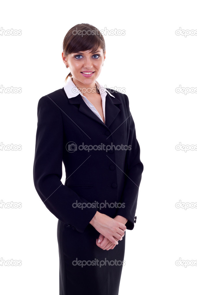 Positive business woman smiling over white background  — Stock Photo #3656833