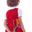 Girl with flower surprise — Stock Photo
