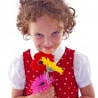Girl holding bunch of Gerabra - Stock Photo