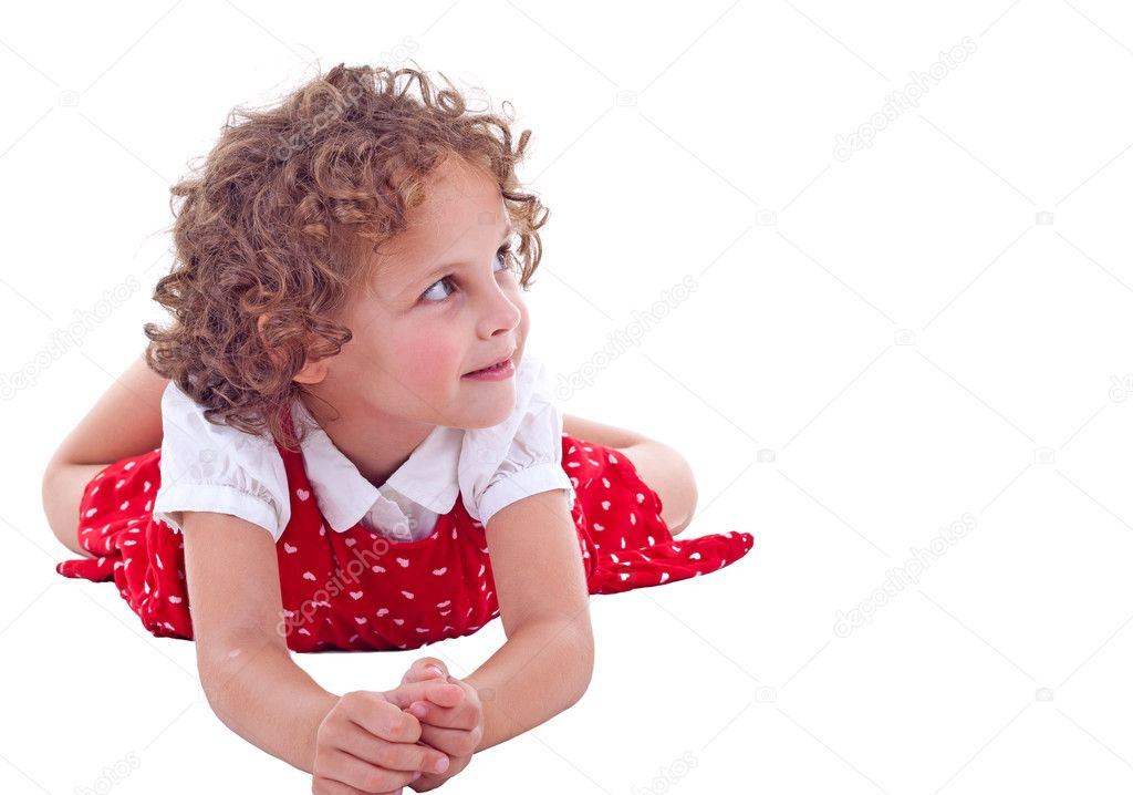 Young Girl Lying On Stomach In Studio an looking to a side — Stock Photo #3736308