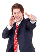 Man Being Positive on phone — Stock Photo