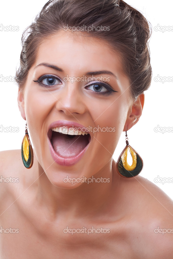 Close-up portrait of beautiful blue eyed caucasian model screaming on white  — Stock Photo #3815120