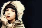 Fashion beautiful women brunette in fur — Stock Photo