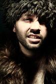 Portrait fashion men in fur — Stock Photo