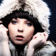 Fashion beautiful brunette women in fur — Stock Photo