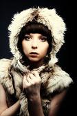 Fashion beautiful brunette women in fur — Stock Photo