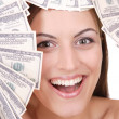Attractive woman with 100 dollar bills — Stock Photo