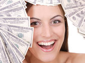 Atrakcyjna kobieta z 100 dolarowe — Zdjęcie stockowe