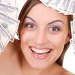 Attractive woman takes 100 dollar bills — Stock Photo #2710825