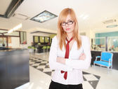 Young Attractive blond Receptionist — Stock Photo