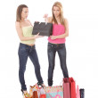 Isolated two shopping women — Stockfoto