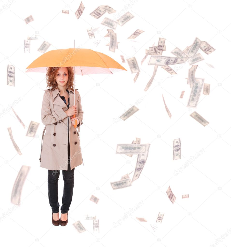 Clipart Illustration of a Woman In Blue, Holding An Umbrella Over