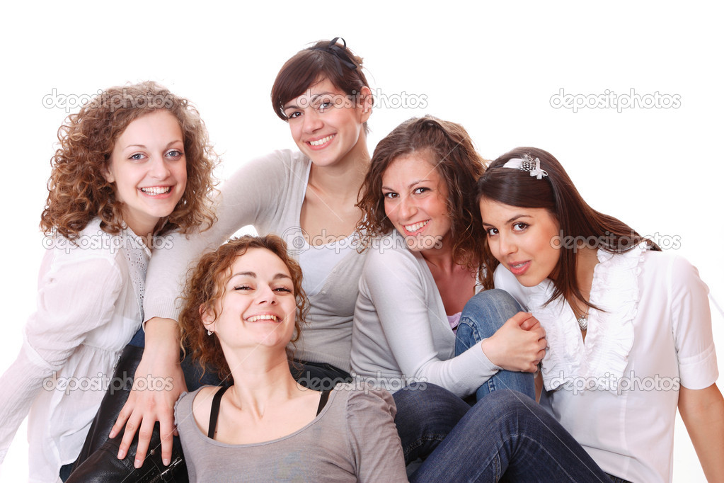 Group of happy pretty laughing girls over white background  Stock Photo #2835199