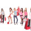 Group of shopping girls — Stock fotografie