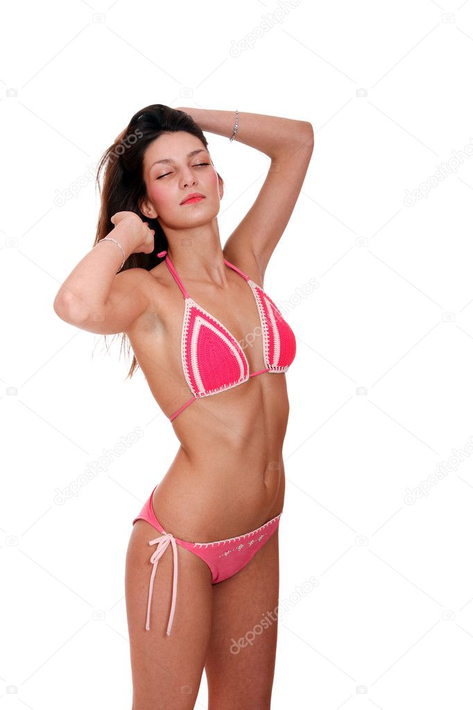 Young woman in bikini, isolated on white background — Stock Photo #2878602
