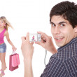 Man taking pictures of a girl — Stock Photo