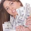 Cheerful young lady cash — Stock Photo