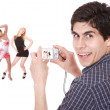 Man taking pictures — Stockfoto