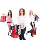 Small group shopping girls — Stock Photo