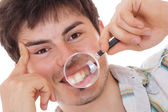 Homme examine ses dents — Photo