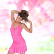 Stock Photo: Sexy showgirl girl over abstract background