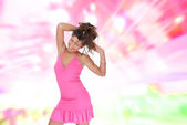 Sexy showgirl girl over abstract background — Stock Photo
