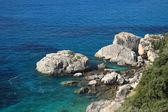Latem na plaży w grecji — Zdjęcie stockowe