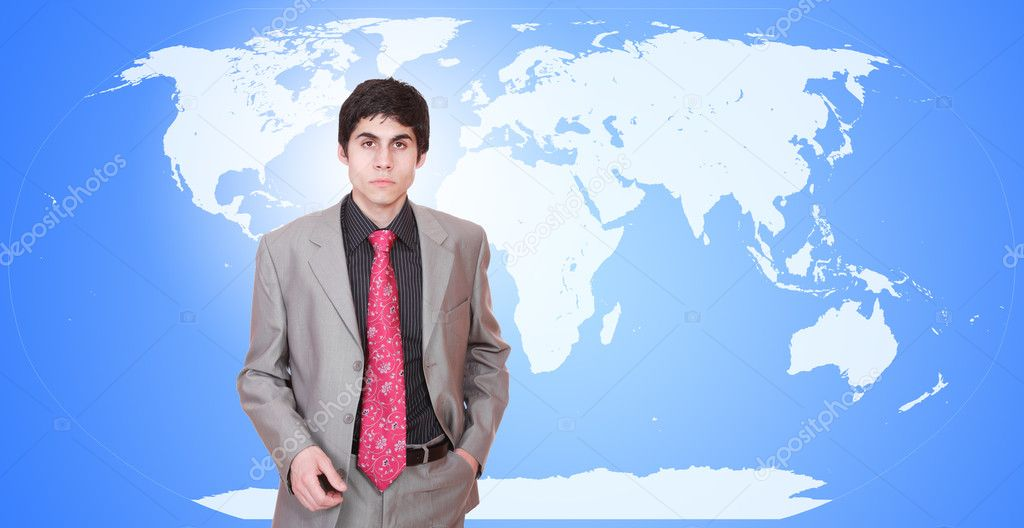 Young attractive businessman with world map in background - globalization — Stock Photo #2993759