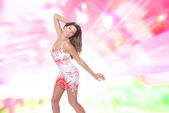 Showgirl girl over abstract background — Stock Photo