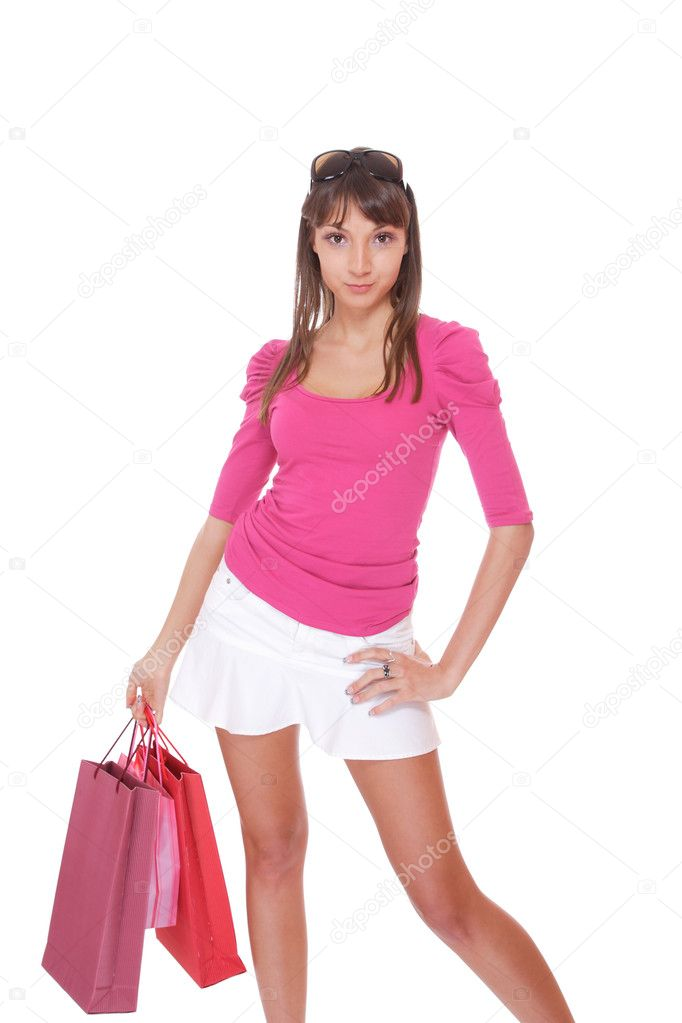 Shopping pretty woman isolated over white background  Stock Photo #3008113