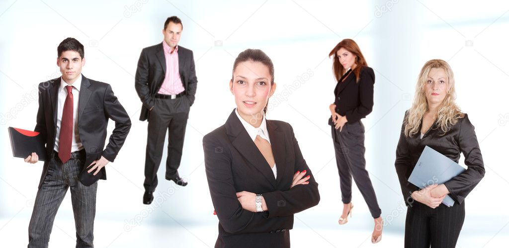 Smiling business team working in the office — Stock Photo #3008321