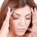 Girl has a headache — Stock Photo