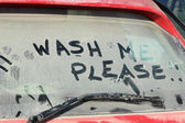 Window of dirty car — Foto de Stock