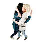 Two teenage girls hugging — Stock Photo