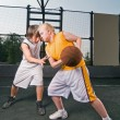 Basketball matchup — Stock Photo