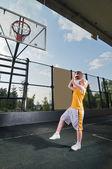 Entrenamiento de tiro de baloncesto — Foto de Stock