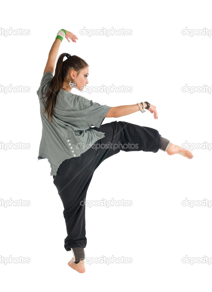 Beautiful contemporary dancer performing on white background  Stock Photo #3601157